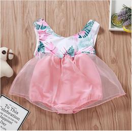 Mono rosa de una pieza online-Chica O-cuello sin mangas de gasa del mameluco del verano del verano Floral Print Jumpsuit Infant Pink ropa One Piece ZHT 272