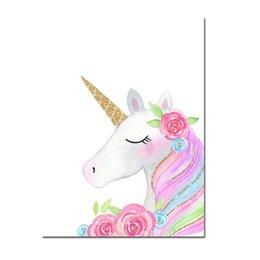 Karikatür duvar sanatı posteri ve baskı pembe unicorn yıldız tuval boyama çocuklar kız kreş yatak odası dekor için modern duvar duvar grafik nereden