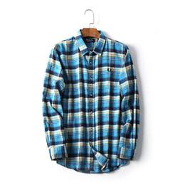 Tessuto flanella plaid online-Camicia di plaid in tessuto di flanella morbida monopetto sottile autunno uomo moda maschile plus size in cotone colore camicetta casual