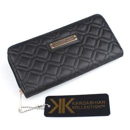 Kardashian wallets online-KARDASHIAN Kollection Frauen Berühmte Marken-Entwerfer PU-Leder-Mappen Female Plaid Thema Geldbeutel Mädchen KK Clutch Clip Portefeuille Femme KK0160