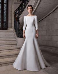 6b4e2261a Sirena 3 4 Mangas Satén Vestidos de boda modestos 2019 Cuello de barco  Espalda abierta Mujeres Vestidos de novia informales simples por encargo