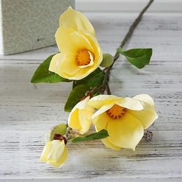Flores artificiais de haste longa on-line-Luxo haste longa 4Heads Artificial Magnolia ramo da flor for Fake Decoração Wedding Flowers Garden Decor Flores