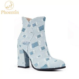 shoe broken toe Promo Codes - Phoentin denim women's shoes 2018 cowgirl boots zip geometric broken design super high heel ankle boots blue jeans shoes FT499