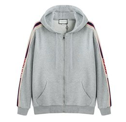 Sweatshirts sweats à capuche en Ligne-19ss Grey Luxury Italy Designer Fashion Brand New SWEAT À CAPUCHE ZIPPÉ AVEC logo STRIPE Hommes g Hoodies femmes Sweat-shirts homme vêtements