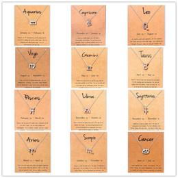 libra halskette silber Rabatt Mode Virgo Libra Widder Nachricht Karte Schmuck 12 Konstellation Anhänger Halskette Silber Kette Halsketten Für Frauen Geburtstagsgeschenk