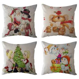 Рождественские подушки онлайн-18'' Xmas Cotton Pillowcase Linen Cushion Cover Merry Christmas Home Decoration pillow covers decorative cushion covers