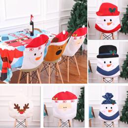 Le più recenti decorazioni di natale online-Più nuovo caso della copertura della sedia per il pupazzo di neve renna alce tavolo articoli per la casa decorazioni di natale 7 stili DHL Ship WX9-1097