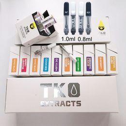 Cigarette électronique pour les huiles en Ligne-Cartouches TKO vides Cartouche de Vape Emballage 0.8ml 1ml Céramiques Électroniques en Céramique Dab Stylo Vaporisateur Verre Épais Huile 510 Fil Batterie