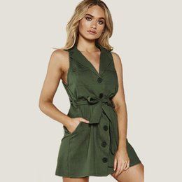 50335bb73011 Women's Sleeveless Button Down Shirt Dress With Pocket V-Neck Belted Slim  Fit Summer Casual Dress Ladies Office Work Dresses DZI0415