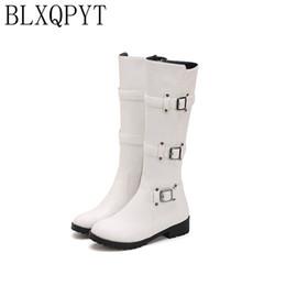 BLXQPYT Горячие Продажи Весна Осень Колено Высокие Сапоги Женская Мода Молния Квадратный Каблук Обувь Женщина Зима Большой Маленький Размер 30--50 H8-1F cheap small size heel boots от Поставщики маленькие каблуки