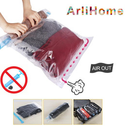 rolling vacuum bags Coupons - Hand Rolling Compression Vacuum Bag Border Foldable Compressed Home Clothes Plastic Storage Bag Space Saving Seal Bags
