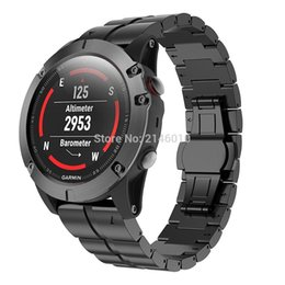 быстрый ремень Скидка Titanium Alloy Wristbands Watch Band Strap For Garmin Fenix 3 / HR Fenix 5X Black Silver Light Weight with Quick Fit