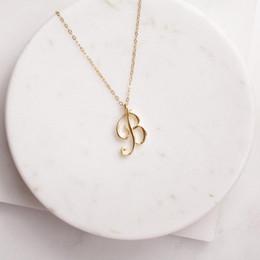 2019 цепное ожерелье Малый Вихревые Initial буквы алфавита ожерелье Все 26 английский Silver A-T Cursive Роскошные Цепные ожерелья вензеля Имя Письмо Слово для влюбленных