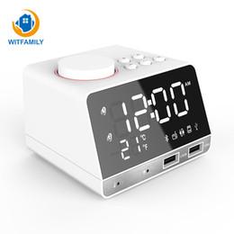 Mini orologio digitale a led online-Digital Alarm Clock Temperature 2 USB Ports LED Display Snooze Table mini Clock Bluetooth FM Radio desktop Speaker