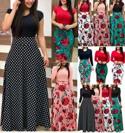 2700 # 10 Color S-2XL Tallas grandes para mujer Vestido de manga larga floral Boho Women Party Bodycon Maxi desde fabricantes