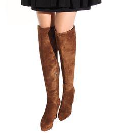 Brown Estilo Invierno 2020 Gamuza manera de las mujeres de alta del muslo botas sobre la rodilla de la nueva llegada mujeres de los tacones gruesos de