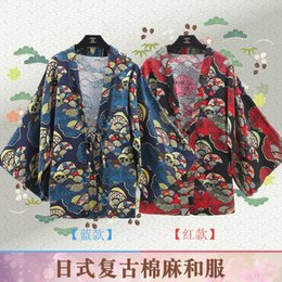 2019 kimono japonés caliente Kimono Japonés Anime Retro College Wind Style Capa de Lino Mujeres Cardigan Fan Impresión Superior Más Tamaño Venta Caliente Envío Gratis kimono japonés caliente baratos