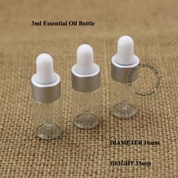 perfumes pequeños al por mayor Rebajas 100pcs / Cristal Lote 3 ml Botella de aceite esencial de plata mate Pequeño 1 / 10oz del envase del perfume cuentagotas Vial Cosmético Pot