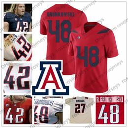 roseau rouge Promotion NCAA Arizona Wildcats # 68 Tedy Bruschi 48 Rob Gronkowski 42 Brooks Reed 27 Maillot de Football Vintage Lance Briggs Bleu Marine