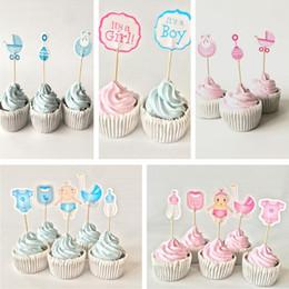 Niños bautizo decoraciones online-12/18/20 piezas Baby Shower Cupcake Toppers Niño Niña Bautizo Azul Decoraciones para fiestas de cumpleaños Niños Fiestas festivas Suministros para fiestas