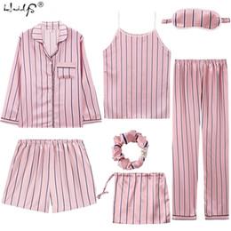 Pijamas mulheres bonitos on-line-Sexy 7 Peças Conjuntos de Pijama Primavera Ternos Do Sono Das Mulheres Macio Doce Bonito Nightwear Presente Casa Roupas Pijama Das Mulheres Sleepwear Pijama T190710