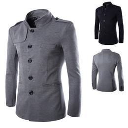 La tunica nera si adatta agli uomini online-Nuovi Arrivi Inverno Uomo Casual collare del basamento cinese tunica sportiva del vestito Giacche Nero monopetto Slim giacca e cappotto M-2XL