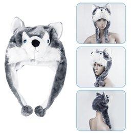 Bonnet de loup en Ligne-1 pcs de haute qualité mode fait main style animal doux bande dessinée loup mignonne peluche duveteux enfants chapeau bonnet