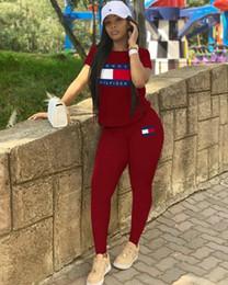 zwei stück trainingsanzug frauen Rabatt Frau designer trainingsanzug gedruckt t-shirt t hose frauen jogging anzüge sommer frauen zweiteilige outfits kurzarm outfits