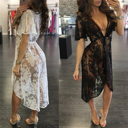 short beach swimwear dresses Coupons - Long Lace Beach Cover Up Sexy Swim Dress Women Beach Dress Bikini Cover Up Swimwear Women Cover-up Bikini Swimsuit Cover