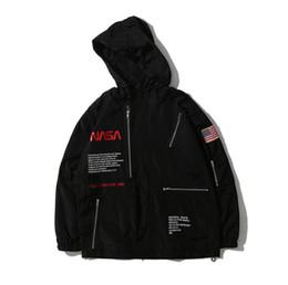 Männlicher weißer mantel online-HERON PRESTON NASA Jacke Windbreaker Herbst Schwarz Weiß Fashion Oberbekleidung Mantel Männlich Designer Jacke
