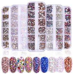 hotfix de pérolas Desconto January3 Nail Jewelry 12 Grade / Caixa de Unhas De Diamante De Gordura Fototerapia Prego AB Rhinestone Decorativo Brilhante Diamante M0044