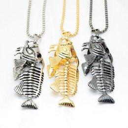 2019 pingentes de gancho de peixe Gancho de pesca de Osso de Peixe Colar De Prata De Ouro Em Aço Inoxidável Fishbone Pingente Cadeias Mulheres Homens Moda Jóias Presente NAVIO de NAVIO 162490 pingentes de gancho de peixe barato