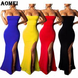 84f7e62173ae3 Women Long Tube Dress Party High Split Off Shoulder Evening Clubwear  Drawstring Slim Blue Black Sexy Tight Vestido Summer Dress