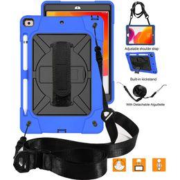 búho casos para ipad Rebajas caso híbrido Titular prueba de golpes debe atar con correa Correa de mano óptico para iPad séptimo Gen 10,2 Mini 4/5 de aire 2 / Pro 9.7 para Samsung T515 T510 T290