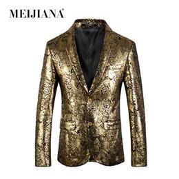 oro costume da smoking Sconti Costume Slim Abiti da sposa Blazer oro 2018 MEIJIANA Fit Tuxedo Party Homme Uomini Prestazione Prom