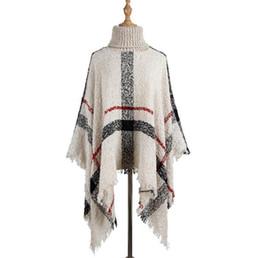 Strickkragen stricken online-Quaste Umhang Schal 6-Farben-Frauen Pullover hoher Kragen gestrickte Pullover Poncho loser Schal-Schal LJJO7205