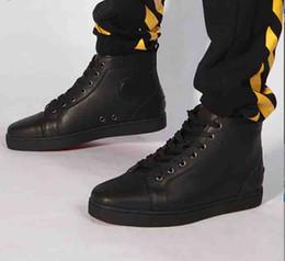 pattini di pattino Sconti Migliori scarpe da ginnastica firmate Red Bottom Mens piatto nero in vera pelle Scarpe da sposa partito di sneaker, lusso High Top Sneaker Lace-up Skate Trainer