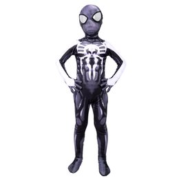 venom traje preto de aranha Desconto Venom Spider-man kid Costume Spandex Impressão 3D Preto Veneno Symbiote Spiderman Traje Para crianças Halloween Cosplay Jumpsuit