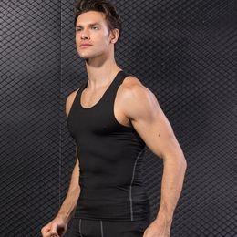 maillots de compression Promotion Mens Stringer Débardeurs Bodybuilding Fitness Gym Gilet Sous-veste Gilet De Compression Sans Manches Élastique Serré Top Sports Shirts Running Singlet