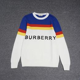 Pull mode pull pull de designer pour homme Designer Sweat-shirt à manches  longues Lettre BU décolleté imprimé rayures bleues jaunes-rouges b07d3244d04