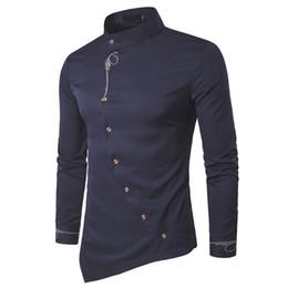2019 ropa de esmoquin 2017 moda nuevo hombre camisa de manga larga para hombre ropa botón oblicuo camisas de vestir de cuello mandarín hombres camisas de esmoquin ropa de esmoquin baratos