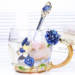 Mise à niveau de luxe en verre émaillé de tasse de café en verre cristal résistant à la chaleur rose bol résistant à la chaleur Couples cadeau créatif fleur thé tasse ? partir de fabricateur