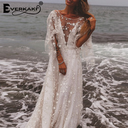 Vestito da cerimonia nuziale della boemia xl online-Star Mesh Maxi Dress Donna Fodera da sposa Backless Deep V Neck Manica lunga Elegante Bohemian Dresses Donna 2019 Estate T5190604