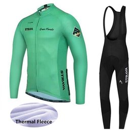 thermals suits Coupons - men winter cycling clothing strava long sleeve thermal fleece bike Jersey bib pants suits Ropa ciclismo racing sportswear Y011106