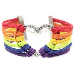 banderas de orgullo al por mayor Rebajas Rainbow Flag Pulseras de Orgullo Gay Encanto LGBT Corazón Pulseras de Cuerda Trenzada Gay Lesbianas Love Heart Design Bangle Jewelry Barato Al Por Mayor