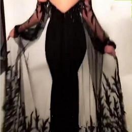 Vestidos de noite on-line-2019 New Black Sheath Prom Dresses with Lace Appliqued Cape Sheer Tulle Neckline Keyhole Cutout Evening Gowns vestidos de fiesta