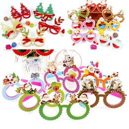 quadros de óculos de natal Desconto Crianças Óculos de Árvore De Natal Papai Noel Decorar Rodada De Vidro E Quadro de Amor Óculos Venda Bem Com Vários Padrões 1 98pj J1