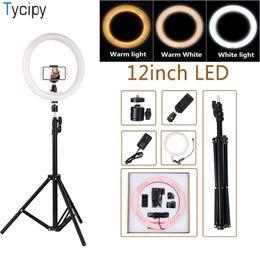 """Filmati online-Tycipy 12 """"lampada di illuminazione fotografica della luce dell'anello del video della macchina fotografica di LED di 180PCS LED con la clip del telefono del supporto del treppiede di 110cm spina di EU / US / UK"""