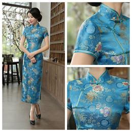 Костюмы чонсама онлайн-Озеро синий Cheongsam восточный костюм платье женское традиционное платье китайский цветок Cheongsam длинный китайский размер S-3XL