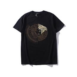 2019 été nouveau logo européen et américain populaire broderie diamant chaud paillettes medusa design luxe T-shirt à encolure arrondie et manches courtes pour m ? partir de fabricateur